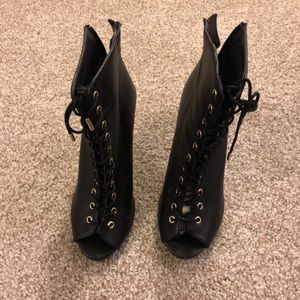 Shoes - Black Lace-up Booties